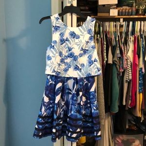 Blue & White Floral Dress with Accent Hem